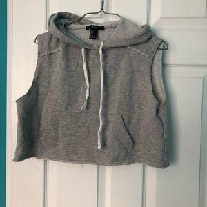 3/$25 sleeveless cropped hoodie